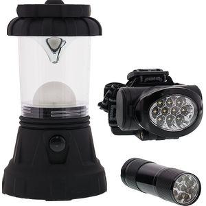 Sona Enterprises 3 Piece Camping LED Lighting Set - Includes Lantern, Headlamp, and Handheld