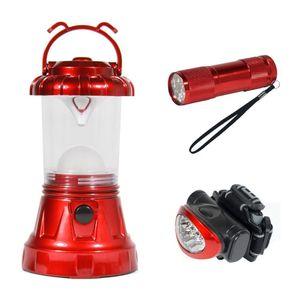 Sona Enterprises 3 Piece Camping LED Lighting Set - Includes Lantern, Headlamp, and Handheld - Red