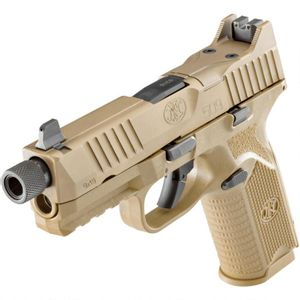 """FN 509 Tactical 9mm Luger Semi Auto Pistol 4.5"""" Threaded Barrel 17 Rounds Night Sights Polymer Frame Flat Dark Earth"""