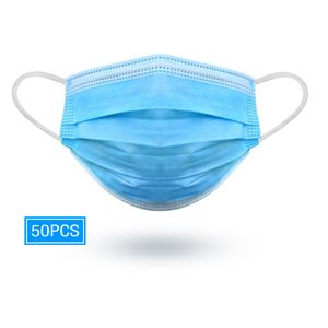 Surgical style masks, 50Pcs 3 Ply Disposable with Elastic Earloop in sealed bag.