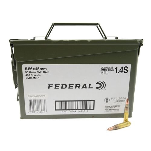 Federal XM Rifle Ammunition XM193ML1, 5.56mm NATO, Full Metal Jacket, 55 GR, 3165 FPS, 400 Rd/Can
