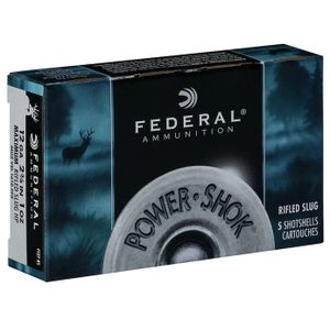 "Federal Power-Shok Ammunition 12 Gauge 2-3/4"" 1 oz HPR Slug Box of 5"