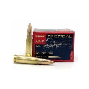 Norma Tactical 7.62x39mm 124gr FMJ Brass 20rd Box