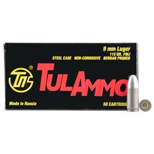 TulAmmo 9mm Luger steel case 115gr FMJ